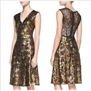 Tracy Reese Black Gold Sequin Lace Shimmer Dress